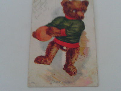 1907 POSTCARD DRESSED BEAR BOWLING BOWLER ARTIST NATIONAL ART SIGNED SERIES 269
