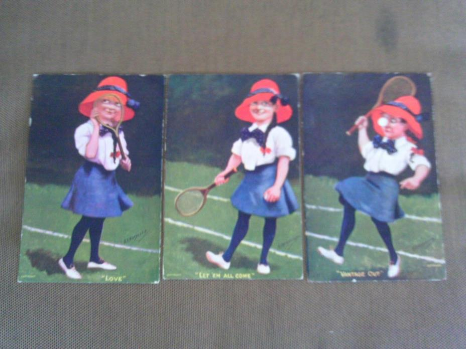 3 LOT GROUP 1910s LONDON POSTCARDS ARTIST SIGNED KINSELLA TENNIS COURT PLAYERS