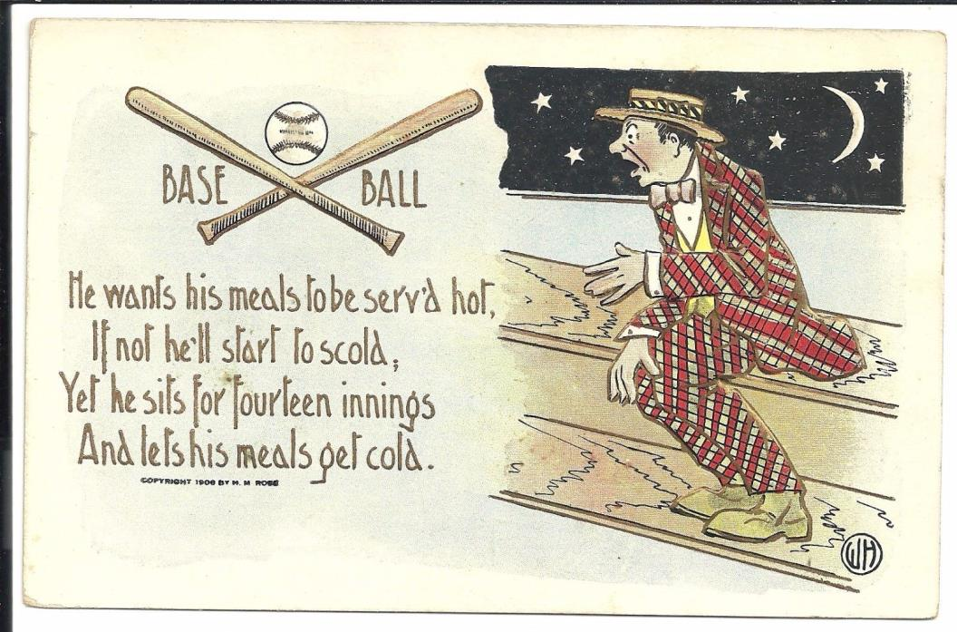 H M Rose Baseball Theme1908 Embossed Vintage Original Postcard