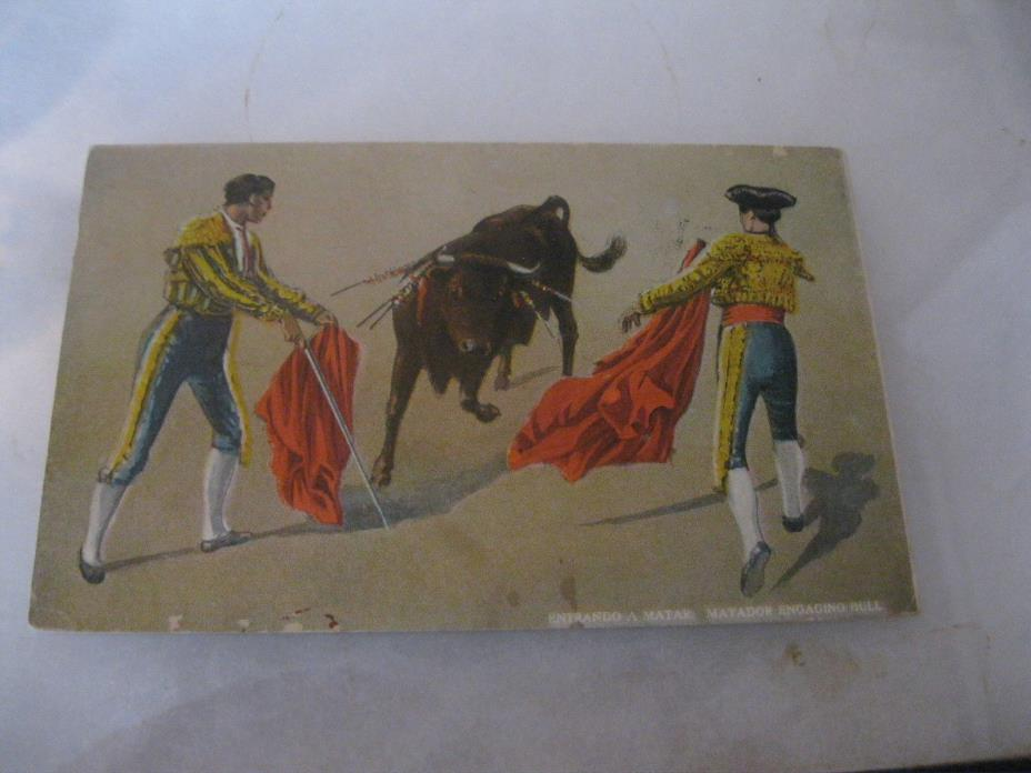 Matador engaging bull Postcard 1928
