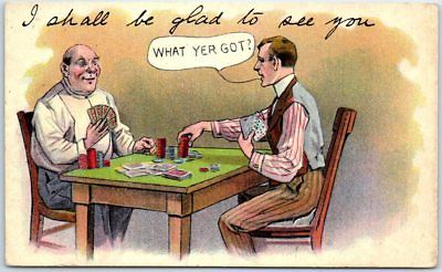 GAMBLING Artist-Signed Postcard