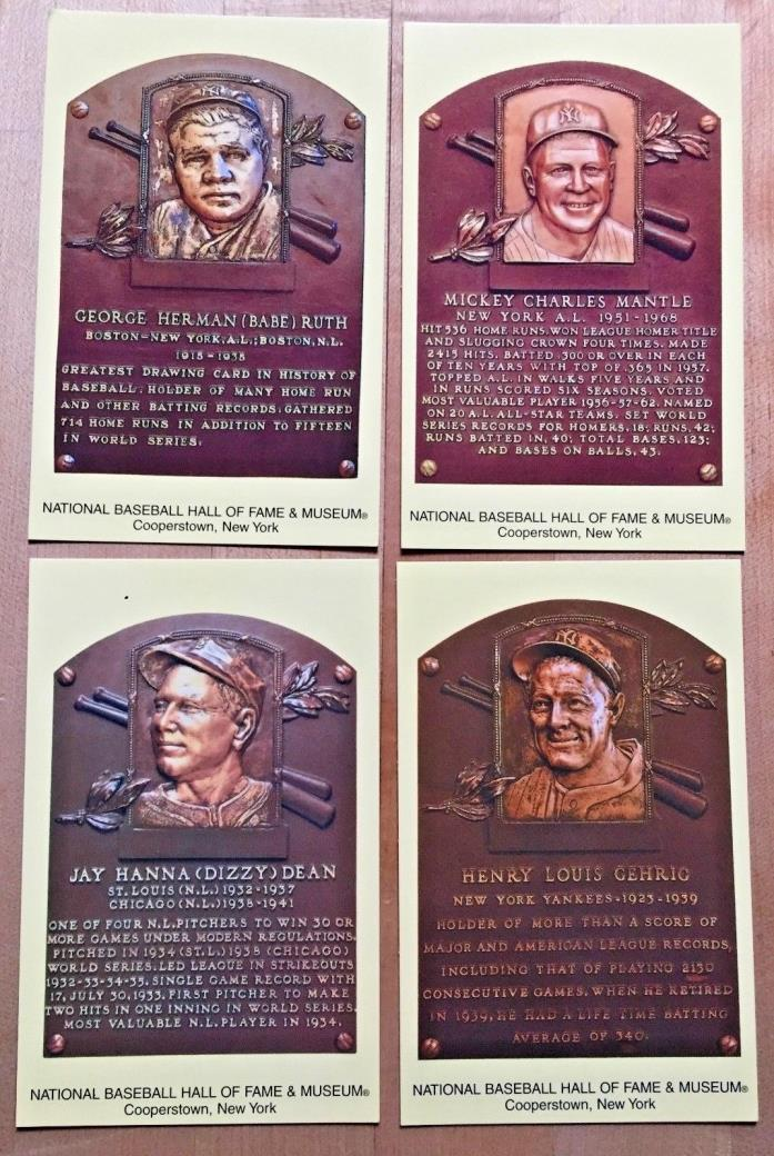 National Baseball HOF & Museum Post Cards, RUTH, MANTLE, DEAN, GEHRIG NRMT Cond.