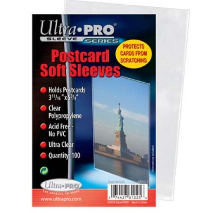 200 Standard Ultra Pro Postcard Sleeves 3.68 X 5.75 Archival Safe Acid Free  NEW