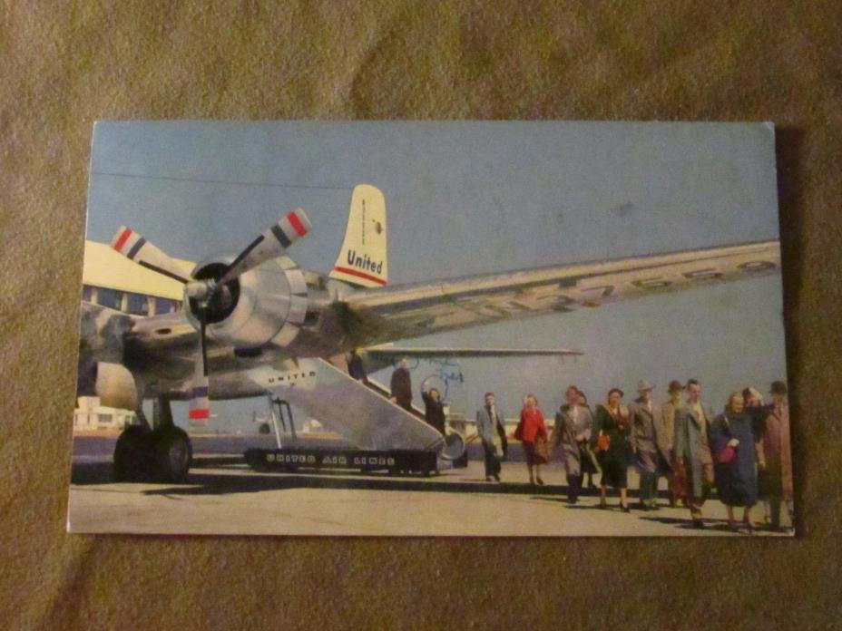 United Airlines DC-6 Postcard, Postmarked 1954