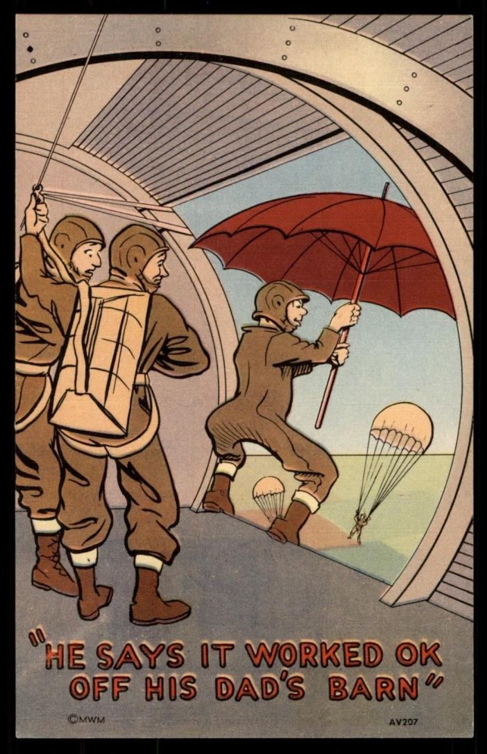 Umbrella as A Parachute Linen Comic 1940's Picture Postcard