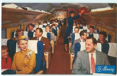 American Airlines Mercury DC-7 Cabin Interior 1950s Antique Postcard 24668