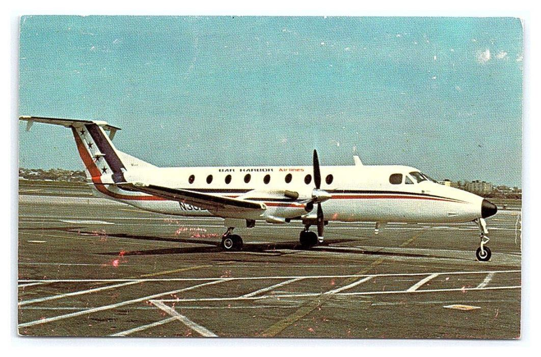 Vintage Postcard Bar Harbor Airlines Beech 1900 Aircraft Plane Maine A9