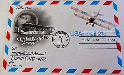 1978 First Day of Issue Post Card-21c INTERNATIONAL AIRMAIL-San Diego,CA,Sept 16