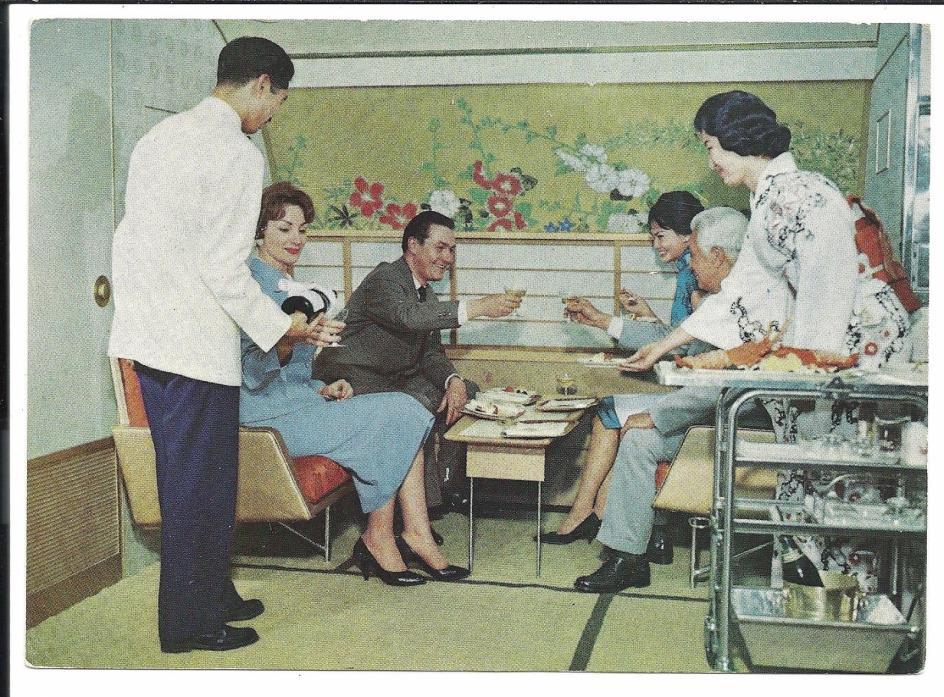 Japan Airlines Advertising Lounge DC 8 Vintage Original Postcard