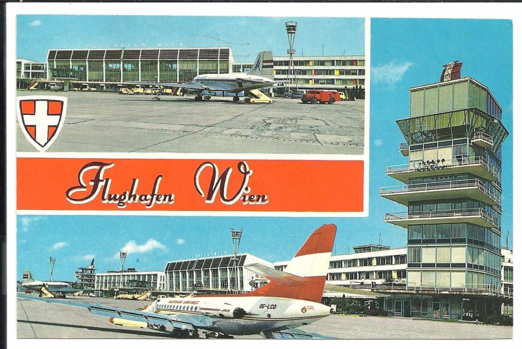 Flughafen Wien Airport Vintage Original Postcard