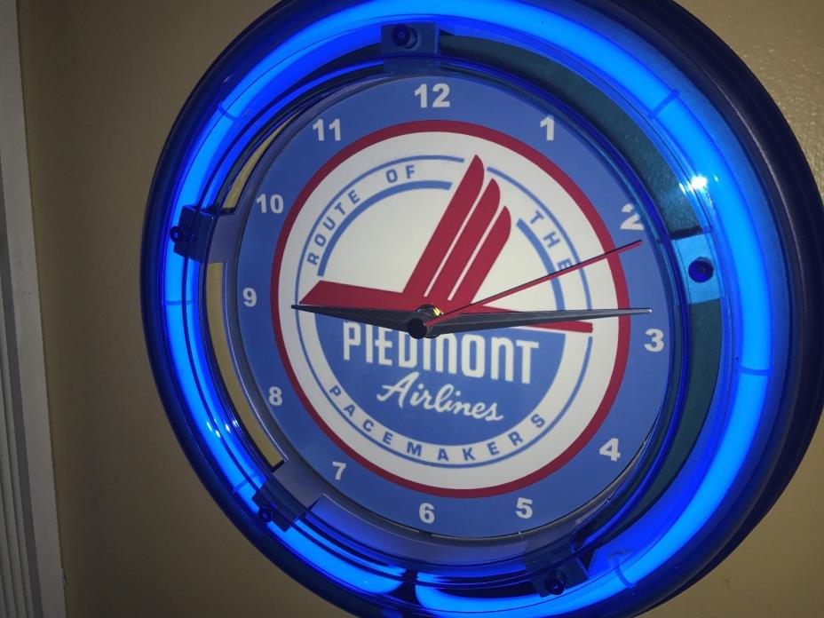 ***Piedmont Airways Airline Airplane Pilot Stewardess Blue Neon Wall Clock Sign