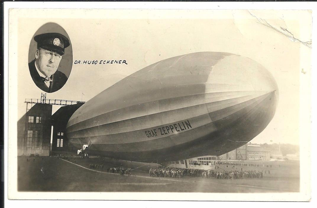 Graf Zeppelin with Dr. Eckener Vintage Original Postcard