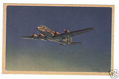 American Airlines -Route of the Flagships 1940s unused postcard