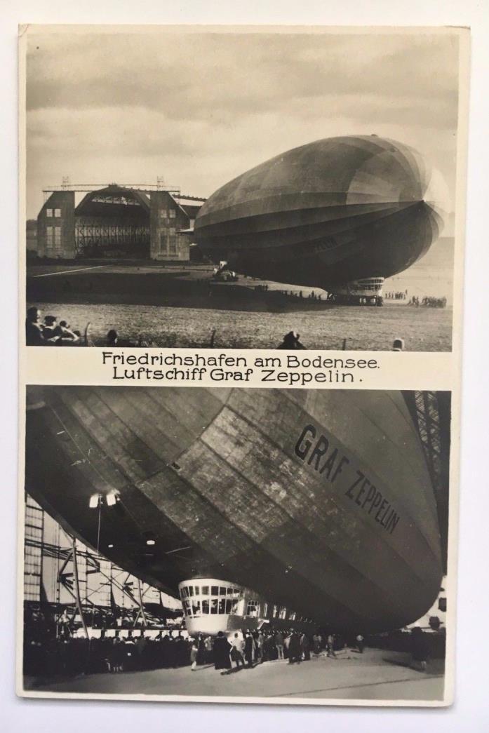 Vintage RPPC Postcard Graf Zeppelin Germany Dual View in Hanger Friedrichshafen