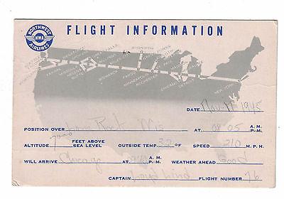 Northwest Airlines 1945 Flight Information Postcard Mid-Air Position