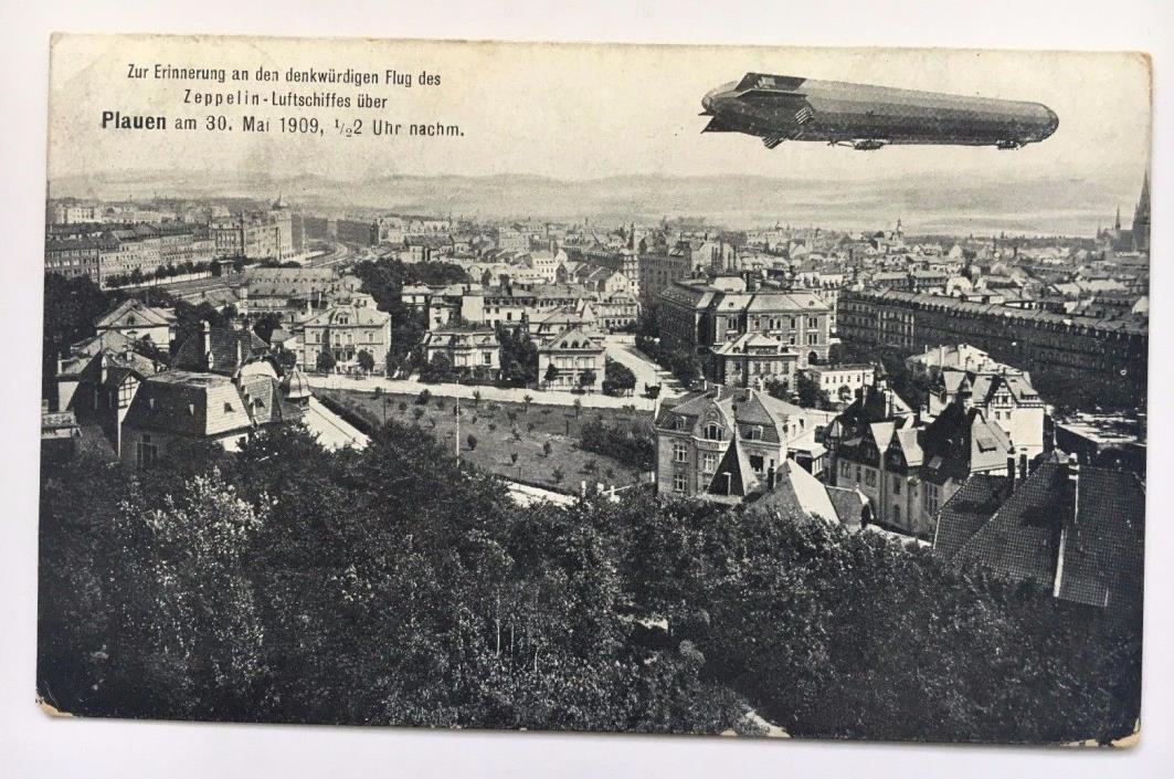 1909 Vintage Postcard Zeppelin flight Over Plauen Germany Postcard birds eye