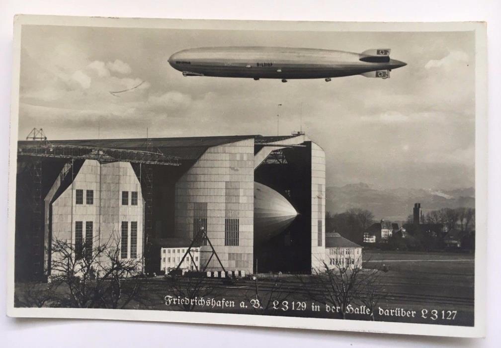 RPPC Zeppelin Postcard Friedrichshafen Germany LZ129 in hangar LZ127 in flight