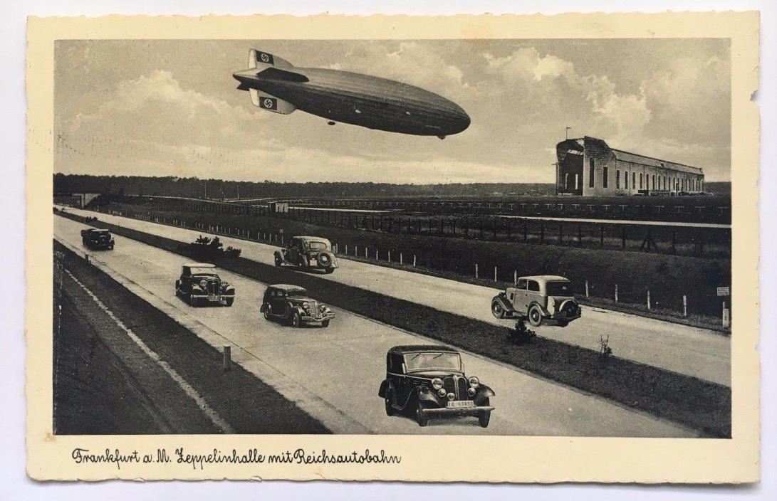 1938 Zeppelin in flight over Autobahn Frankfurt Germany Postcard German hangar