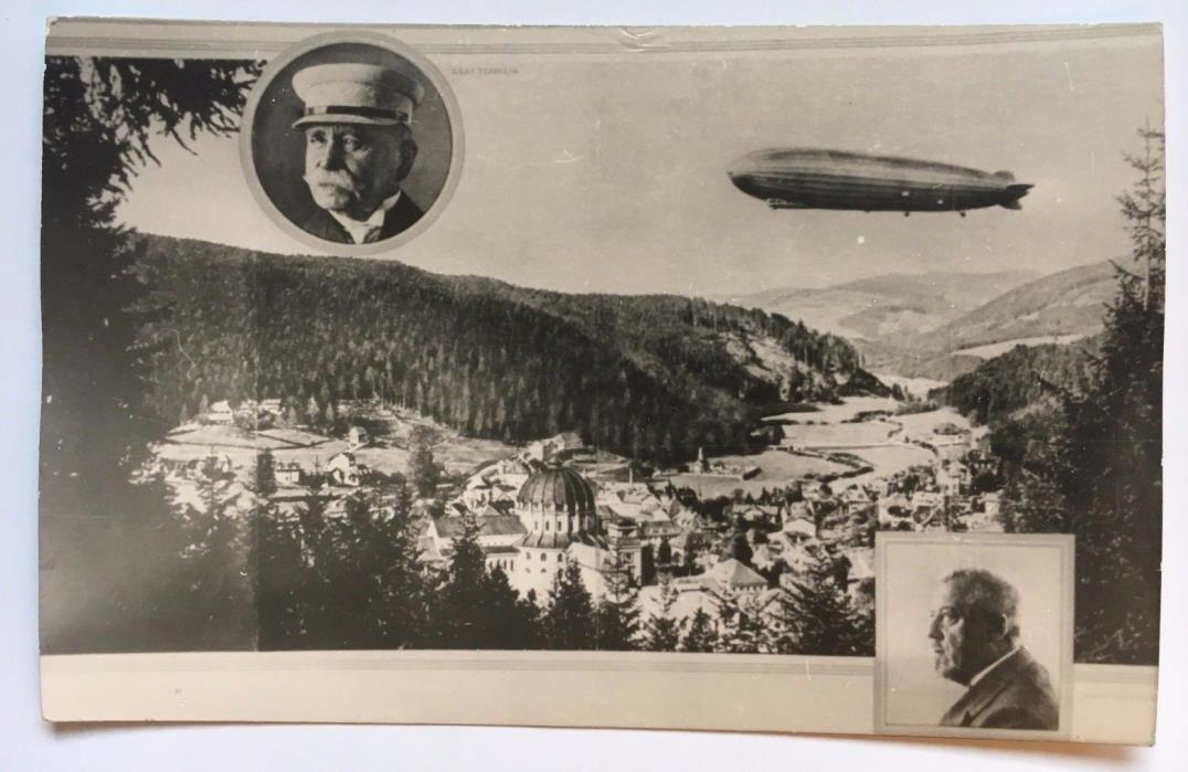 Vintage Graf Zeppelin LZ127 Postcard Germany with Zeppelin and Eckener portraits