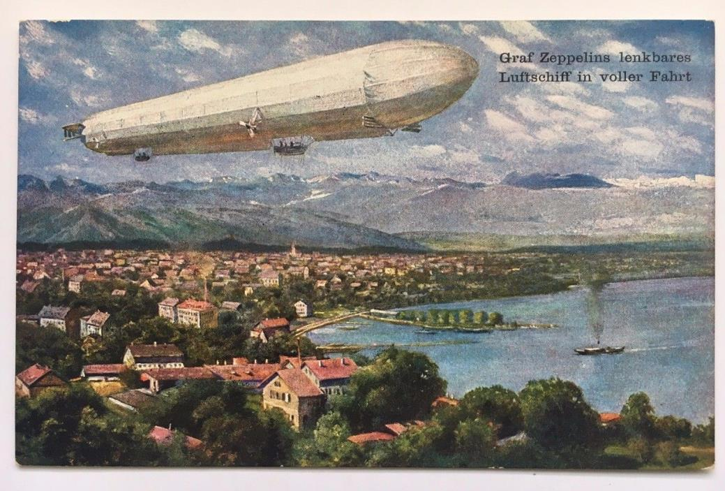 Vintage Graf Zeppelin Postcard Germany German Airship In Flight Voller Fahrt