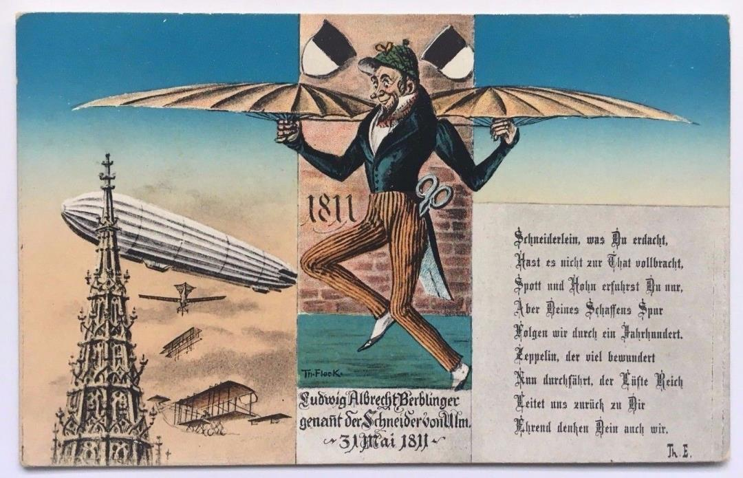 Vintage Ludwig Albrecht Berblinger Zeppelin aviation Postcard Germany German
