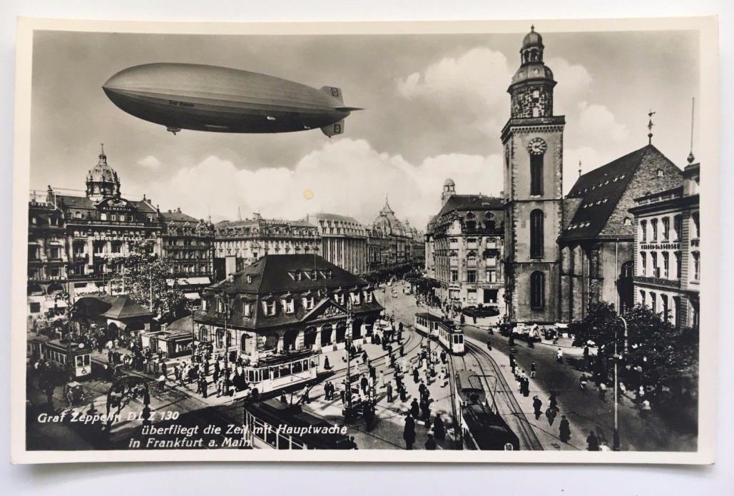 Vintage RPPC Postcard Graf Zeppelin  D LZ 130 over Frankfurt Haupwache Germany
