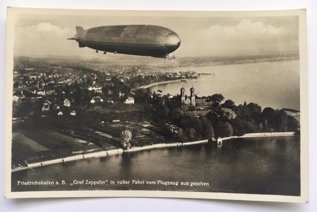 Vintage RPPC Graf Zeppelin Postcard Friedrichshafen Germany view from airplane