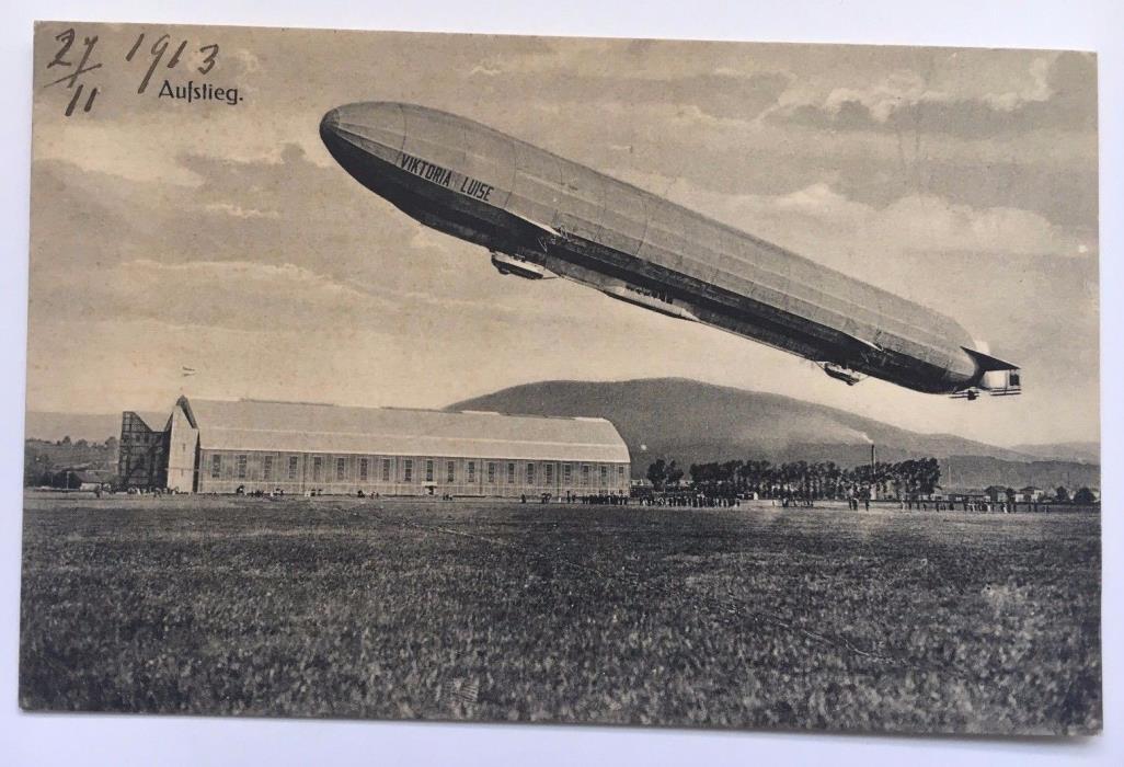 1913 Vintage Viktoria Luise LZ11 Zeppelin Postcard Aufsteig Germany above hangar