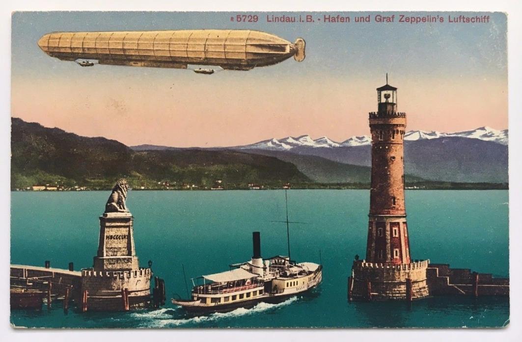 Vintage Graf Zeppelin Airship Postcard Lindau Germany harbor ship lighthouse