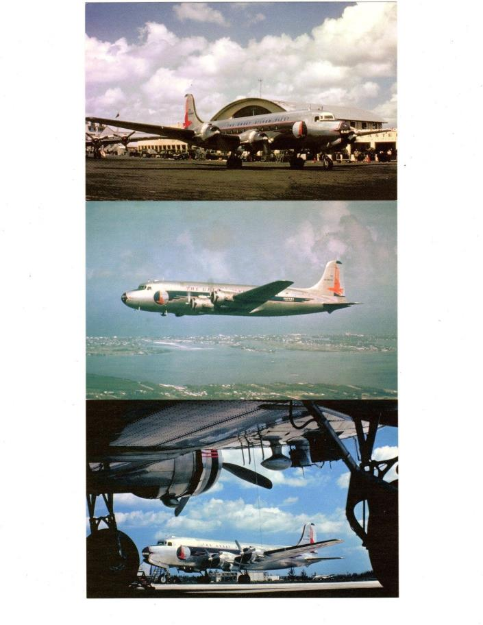 3 Eastern Airlines / Airplane Postcard Lot (Douglas DC-4)