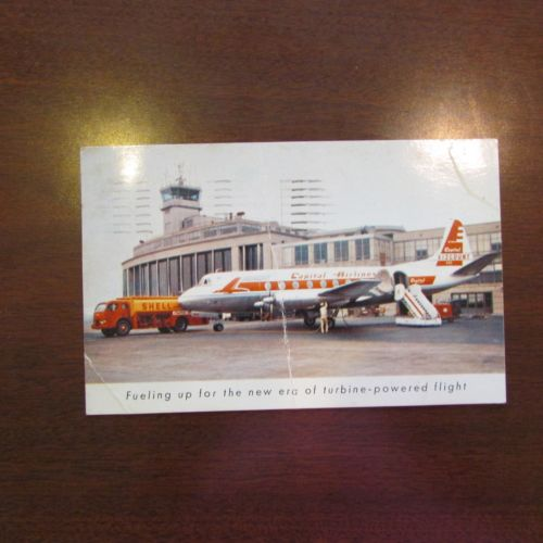 1956 Central Viscount Airlines POstcard Turbine Powered SHell oil