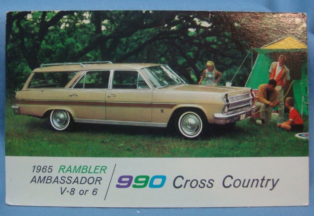 1965 RAMBLER AMBASSADOR 990 STATION WAGON CAR VINTAGE POSTCARD 3D 83