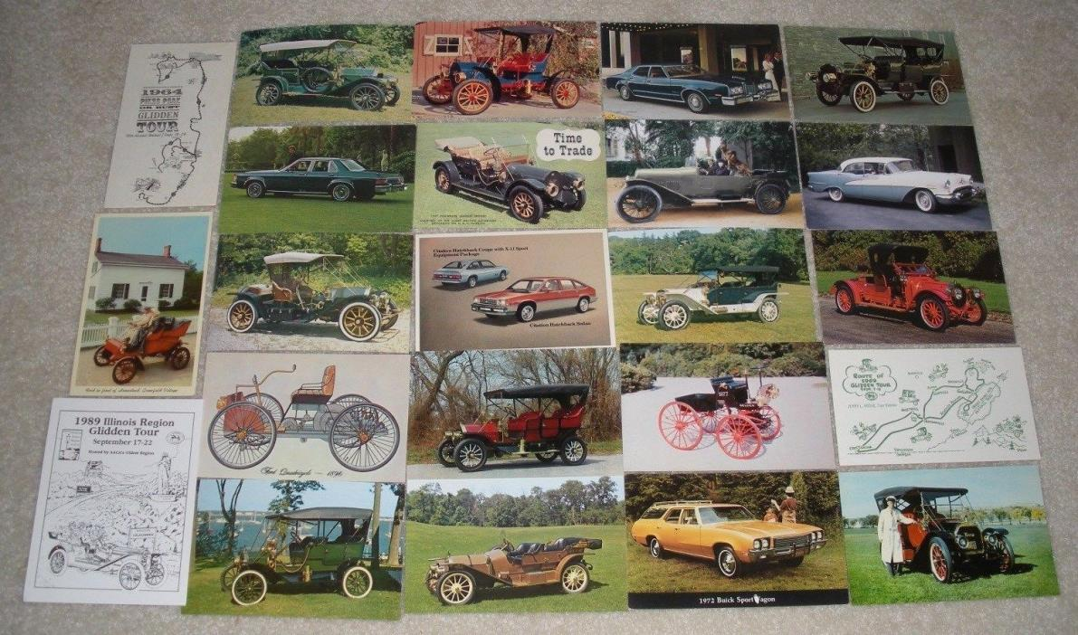 23 Antique Car / Automobile / Dealership Postcard Lot (Automobilia)