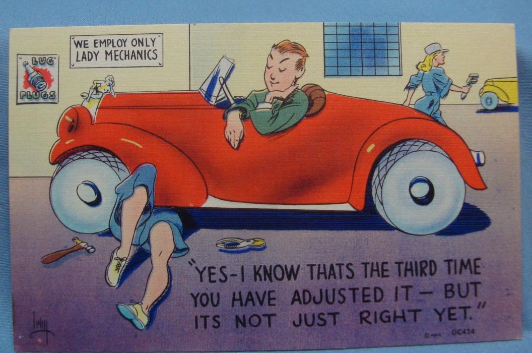 HUMOROUS LADY AUTO MECHANIC 1930S? VINTAGE  POSTCARD 2H