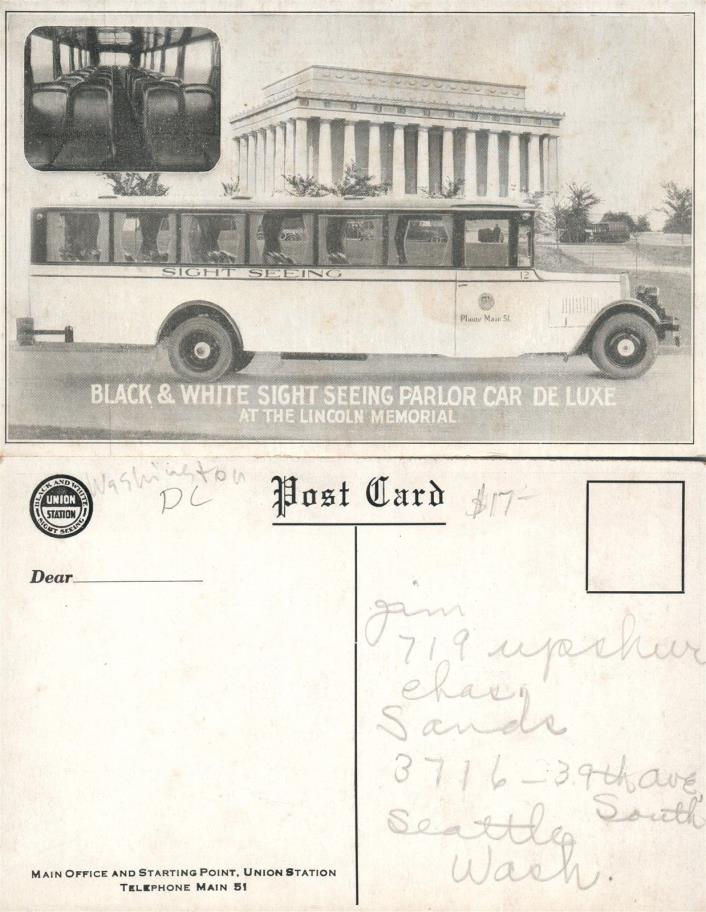 WASHINGTON D.C. BLACK & WHITE SIGHT SEEING PARLOR CAR ANTIQUE POSTCARD