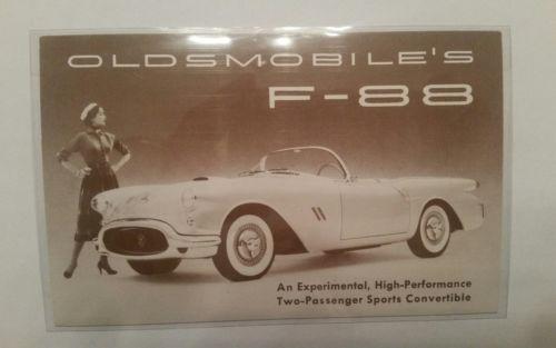 Vintage Oldsmobile Car F-88 1954 Experimental Convertible Postcard  L@@K!