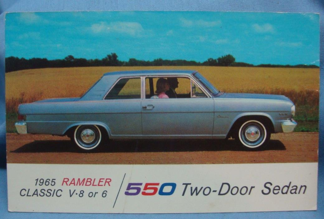 1965 RAMBLER CLASSIC 550 2 DOOR SEDAN CAR VINTAGE POSTCARD 3D 81