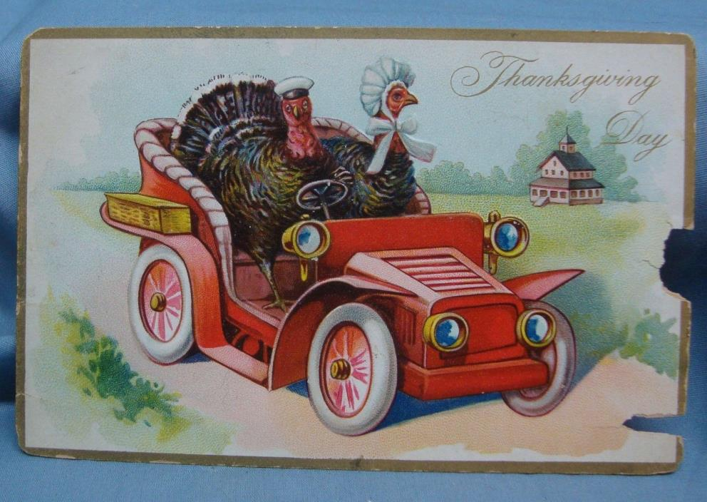 THANKSGIVING COMIC TURKEYS IN ANTIQUE CAR 1910S? VINTAGE POSTCARD 3E