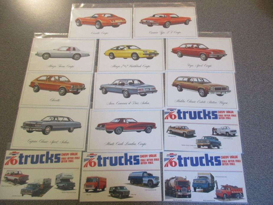 1976 Rare Excellent COMPLETE Set of 14 1976 Chevrolet CAR & TRUCK Postcards 1976