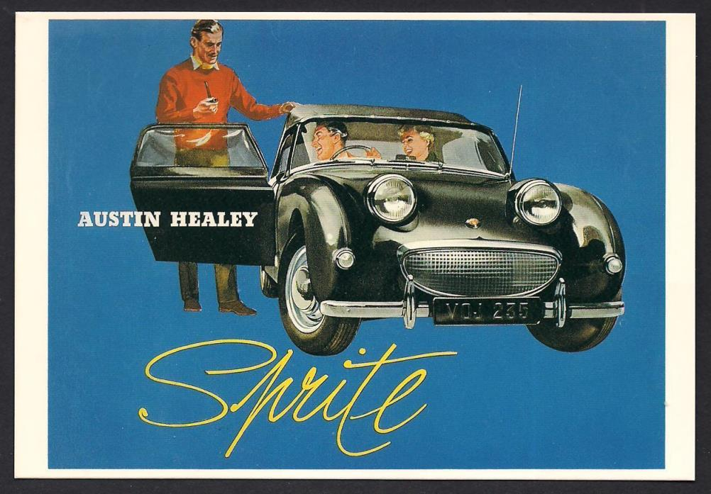Austin Healey Sprite Sports Car Reproduction Postcard of 1958 Brochure Cover