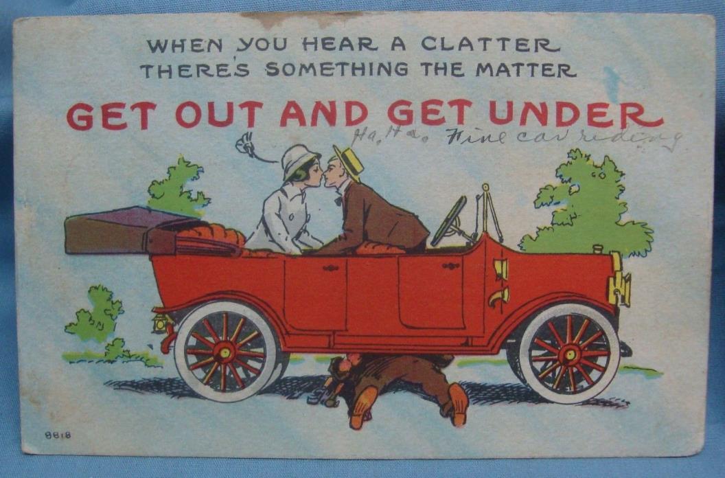 OLD CAR MECHANIC MAN WOMAN KISSING 1914 VINTAGE POSTCARD 3E