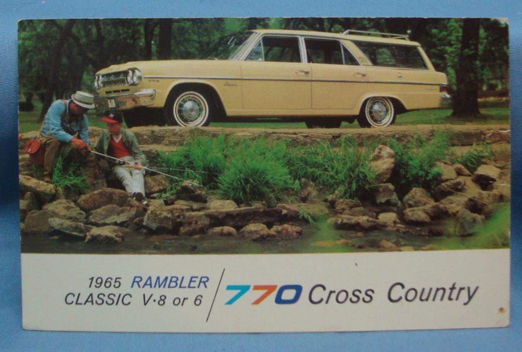 1965 RAMBLER CLASSIC 770  STATION WAGON CAR VINTAGE POSTCARD 3D 82