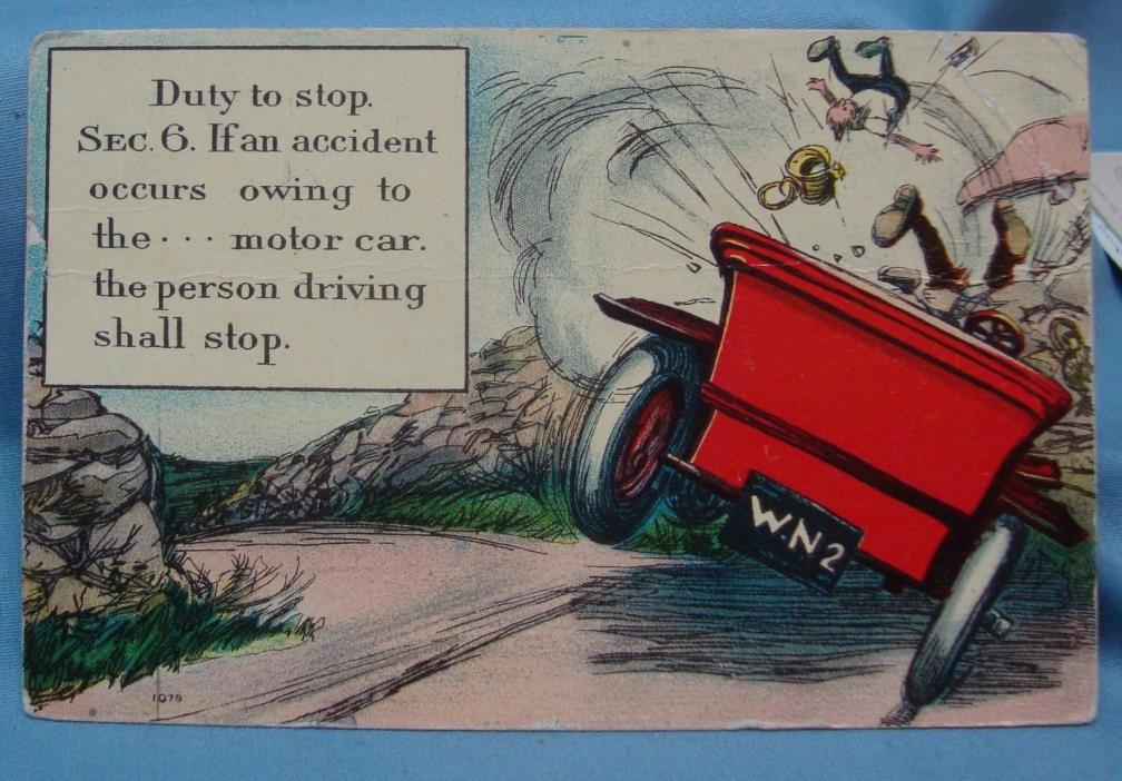 MOTOR CAR ACCIDENT COMIC 1910 VINTAGE POSTCARD 3E