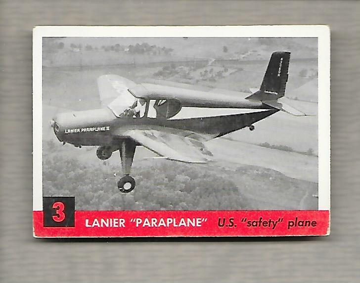 Topps Jets #3 Gum Card Lanier Paraplane1956 US Safety Plane g1185