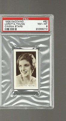 1936 FACCHINO CINEMA STARS #62   LORETTA YOUNG  PSA 8 NM/MT  2 HIGHER  RARE SET