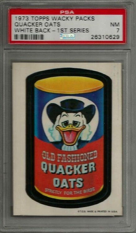 1973 Topps Wacky Packages Quacker Oats 1st Series White Back PSA 7 NM Card