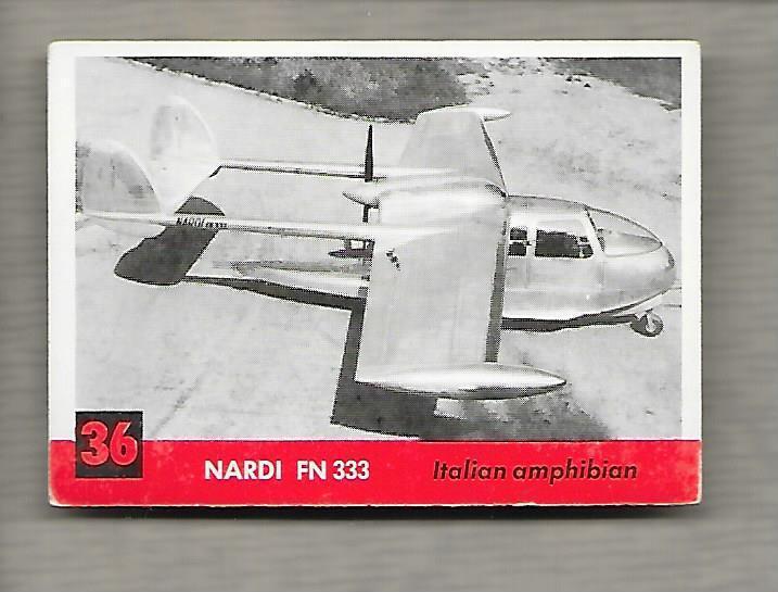 Topps Jets #36 Gum Card Nardi FN 333 1956 Italian Amphibian  g1194