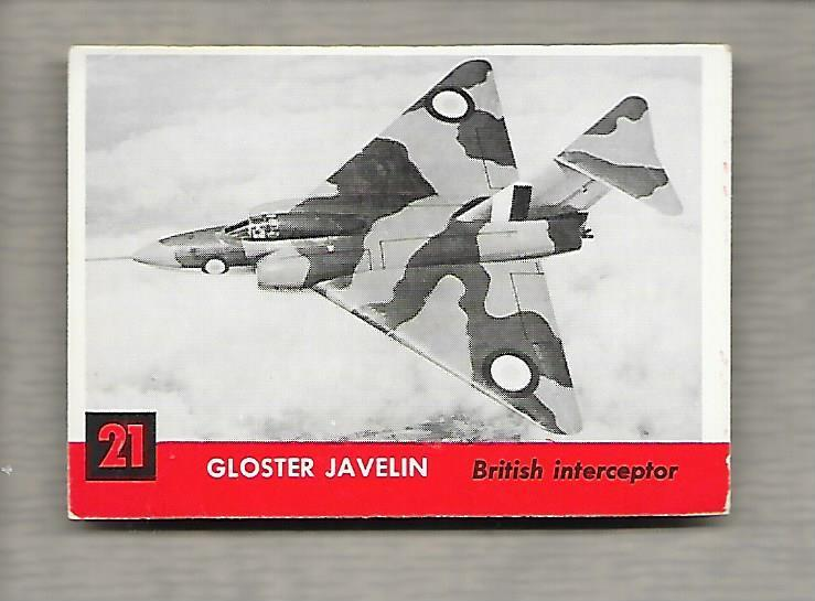 Topps Jets #21 Gum Card Gloster Javelin 1956 British Interceptor  g1190