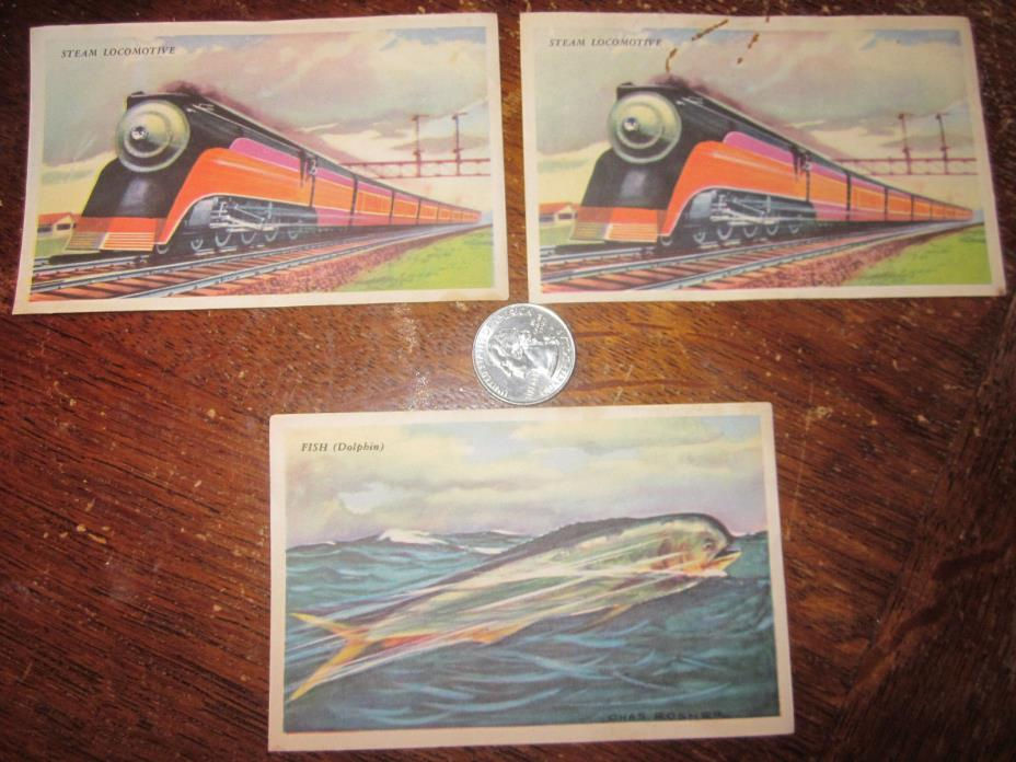 Bell Bread Picture Cards Group of 3 Collectors Cards w Recipes 2 Trains Dolphin