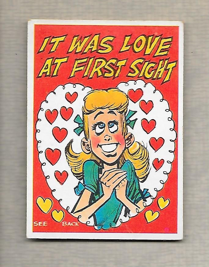 Topps Funny Valentine 1960 It Was Love At First Sight Trade Card  g979